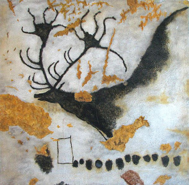 Cave painting at Lascaux, Megaloceros prehistoric deer with huge antlers