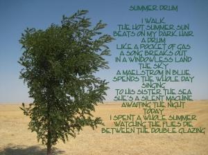 I walk; the hot summer sun beats on my dark hair, a drum