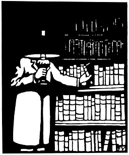 Illustration - Le Bibliophile by Felix Valloton, 1911. a black and white illustration of a figure holding a lamp by a bookcase
