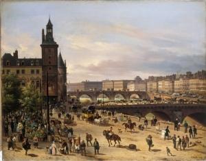 painting of Paris flower market in 1832