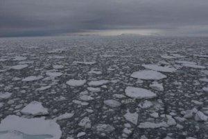 broken pack ice on a darkened sea