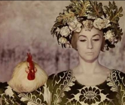 Woman with chicken, from the film The Colour Of Pomegranates via parajanov.com