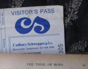 Cadbury Schweppes visitor pass, 1990s