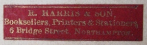 Booksellers' label, R Harris & Son, Northampton