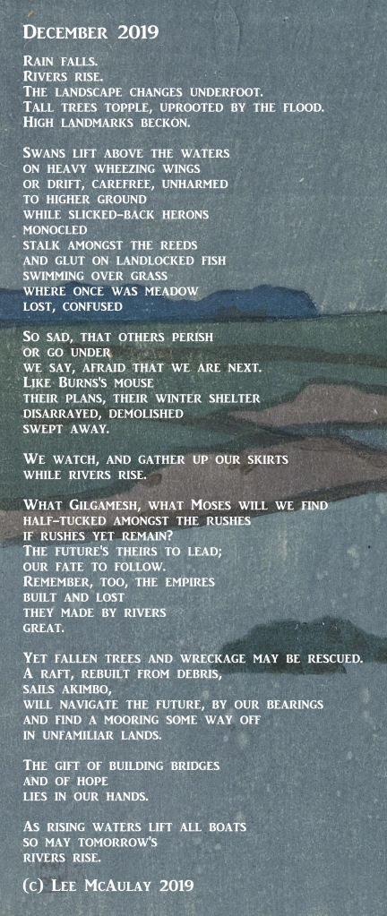 Poem: December 2019, white text on artwork showing a river in flood