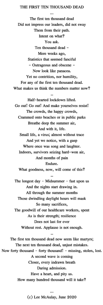 Text of the poem, The First Ten Thousand Dead