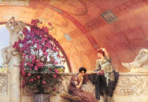 Painting - Alma-Tadema, Unconscious Rivals (1893). Two women in classical robes under an arched ceiling