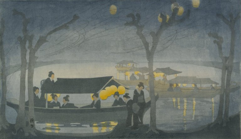 """Painting - """"On the river"""" by Bertha Lum (Brooklyn Museum) - watercolour of japanese women on a boat, with yellow lanterns"""