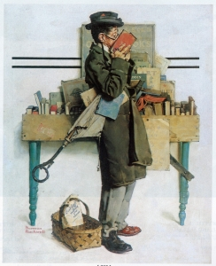 """Painting by Norman Rockwell, """"The Bookworm"""" - man in a raincoat nose-deep in a book"""