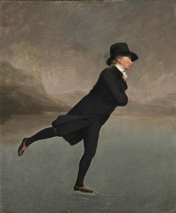 "Painting - ""The Reverend Robert Walker Skating on Duddingston Loch"" by Henry Raeburn, man in black clothing skating on an icy pond"