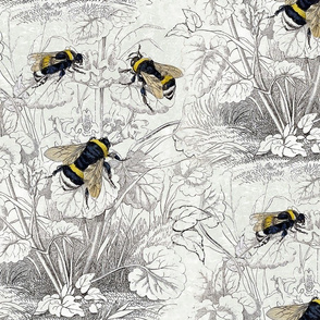 ilustration of bumblebees on flower outlines