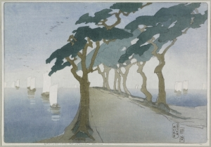 Artwork by Bertha Lum; Pines by the Sea; 1912. a row of pine trees by a coast road