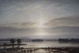 painting of flooded flat lands in weak sunlight