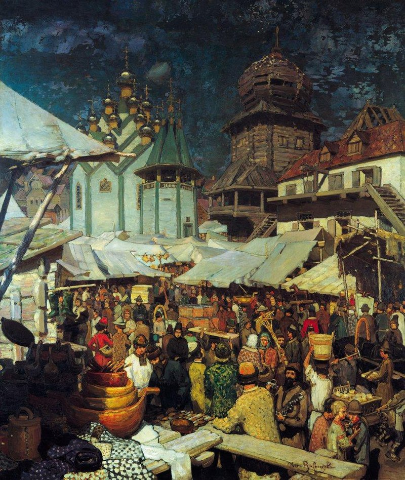 Market 17th Century by Apollinary Vasnetsov, painting of a busy street market in a Russian town
