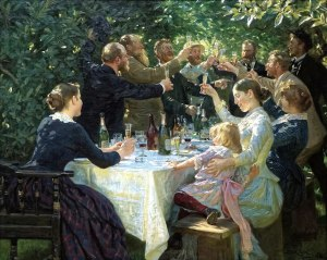 'Hip, Hip, Hurrah! Artist Festival at Skagen', by Peder Severin Krøyer (1888), painting of a garden party with men and women around a table laden with drinks
