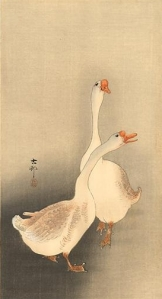 Two white geese, woodblock print by Ohara Koson