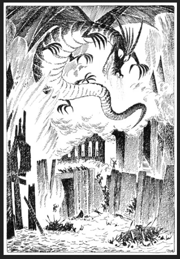 black and white illustration by Tove Janssen for Tolkein's The Hobbit showing Smaug the dragon flying over boats on a lake
