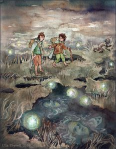 painting by Ulla Thynell of the Dead Marshes in Lord of the Rings, marshland with three figures and will-o-the-wisp lights