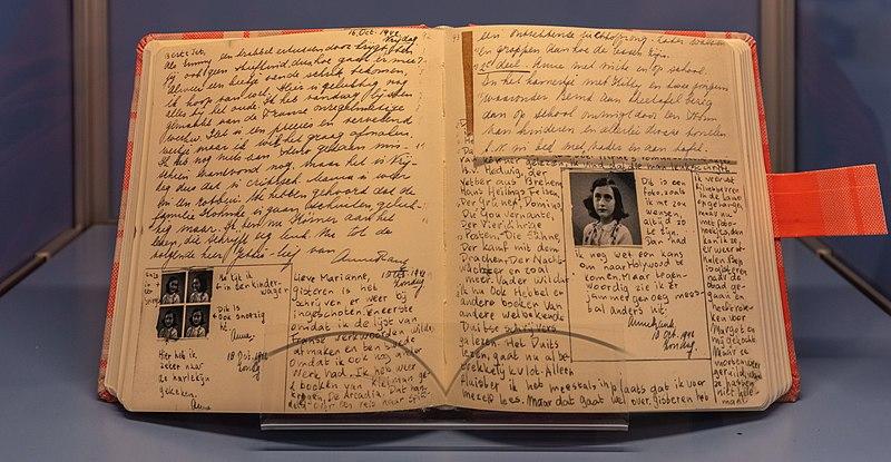 Diary of Anne Frank in St Nicholas Church, Kiel, Germany