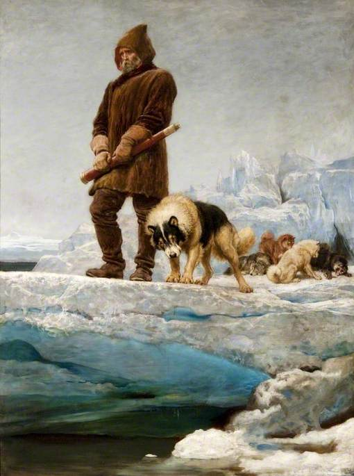 man in furs and dog stare into hole in ice sheet