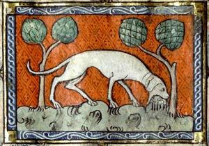 mediaeval manuscript of a dog eating something under trees