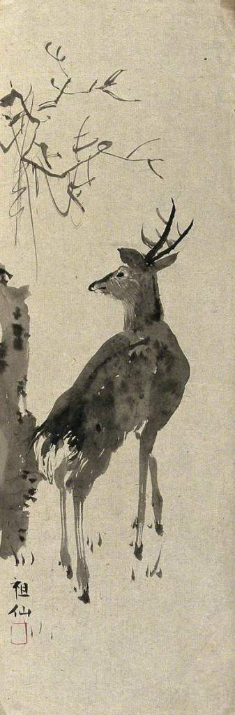 brush painting of a deer