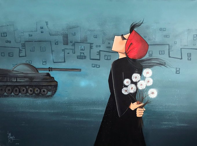 artwork showing a defiant woman holding dandelions behind her back while a tank approaches in the background